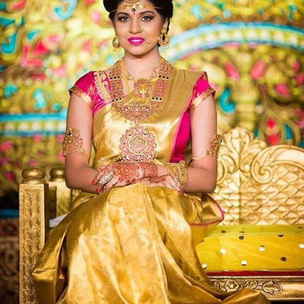 Gold Sarees Paired with Contrasting Blouse